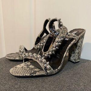 Cape Robbin Gray Snake Ankle Strap Block Heel  11